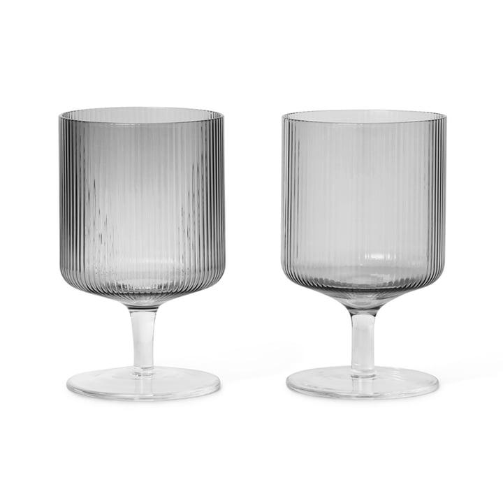 Ripple vinglas af ferm Bor i røget grå (sæt med 2)