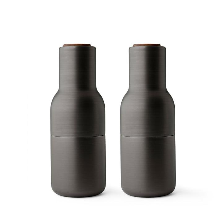 Bottle salt- og peberkværn indstillet af Menu i poleret messing (trælåg valnød)