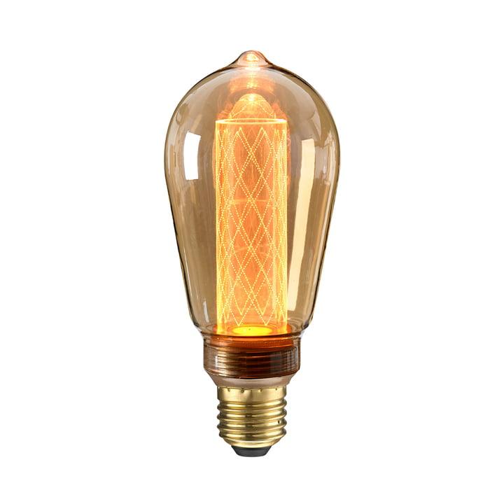 LED cirkuspære Ø 65 mm, E27 / 2,5 W, rav fra NUD Collection
