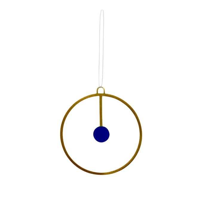 Julepynt vedhæng Joulu Ø 7,5 cm i messing / blå fra OYOY