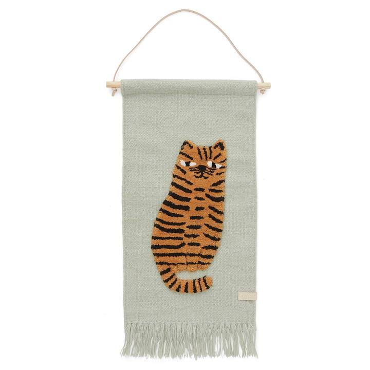 Børnetæppe med dyremotiv, Tiger / Green fra OYOY