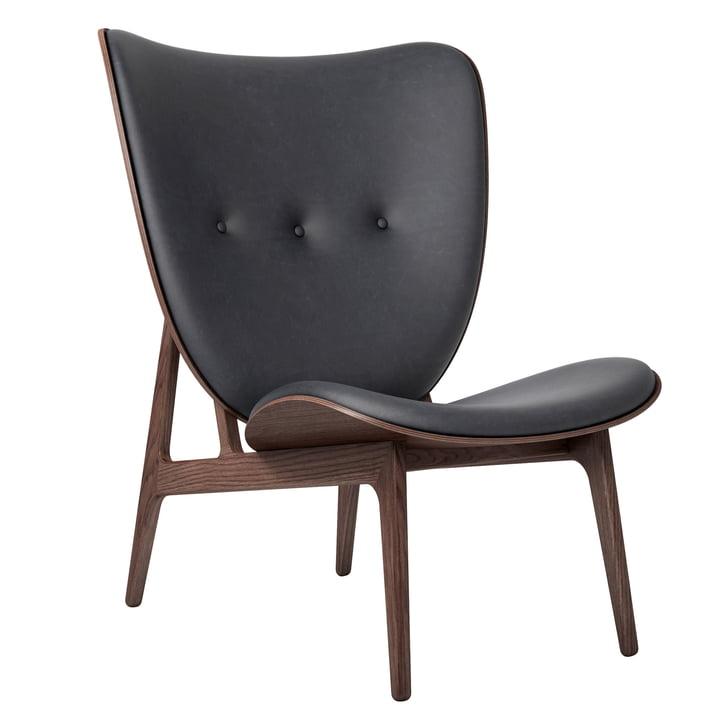 Elephant Lounge stol af Norr11 i eg farvet / læder antracit (21003)
