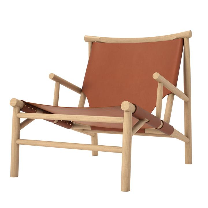 Samurai Lounge Stol af Norr11 i cognac af naturligt eg / læder