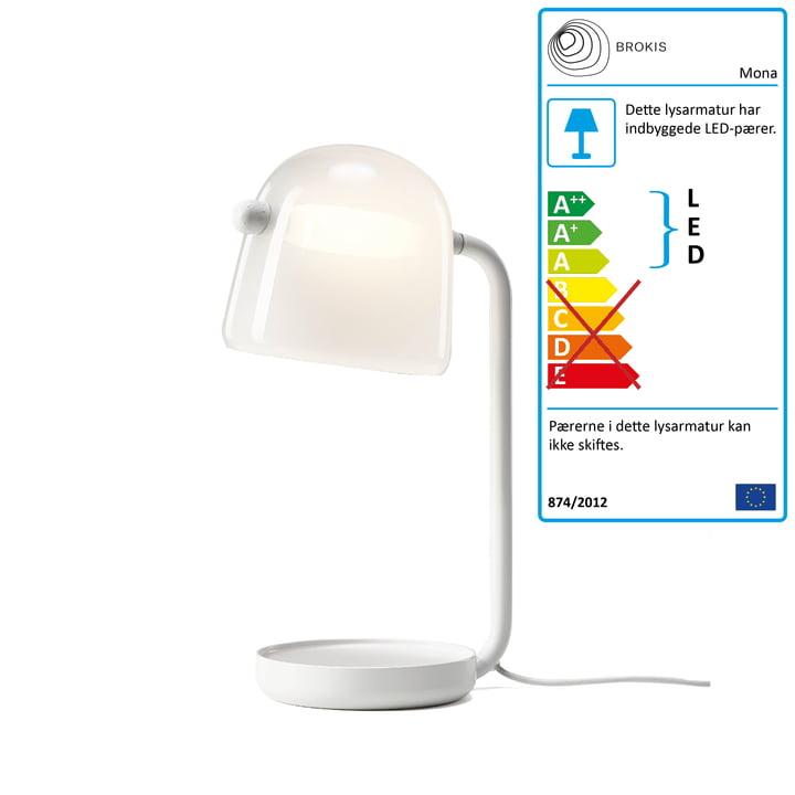 Mona LED bordlampe fra Brokis i glas opal / stel hvid / tekstilkabel hvid