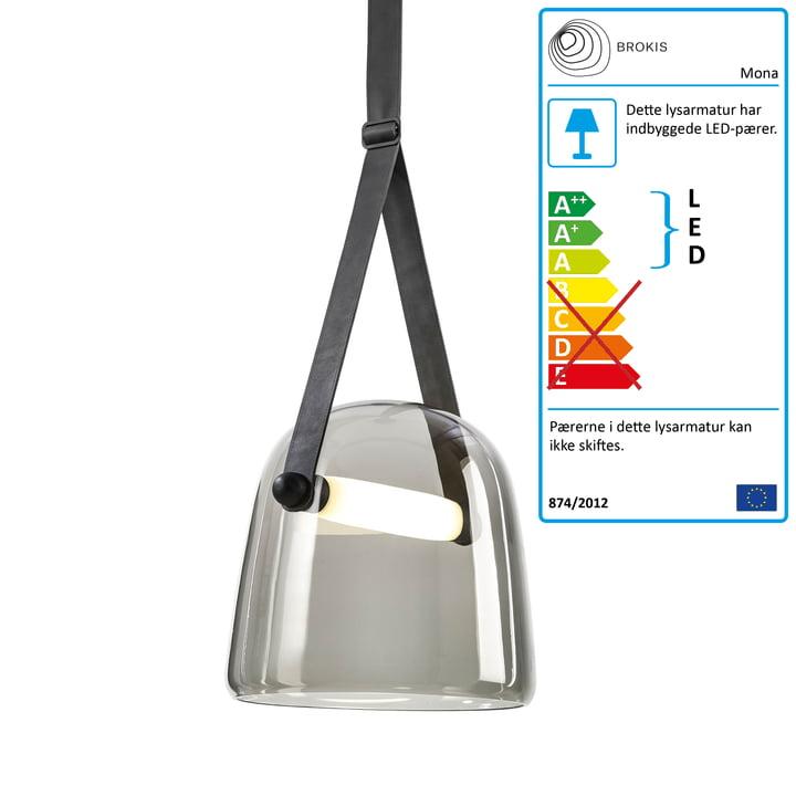 Mona LED pendel lys medium af Brokis i glas røggrå / eg sort farvet / sort / læder sort