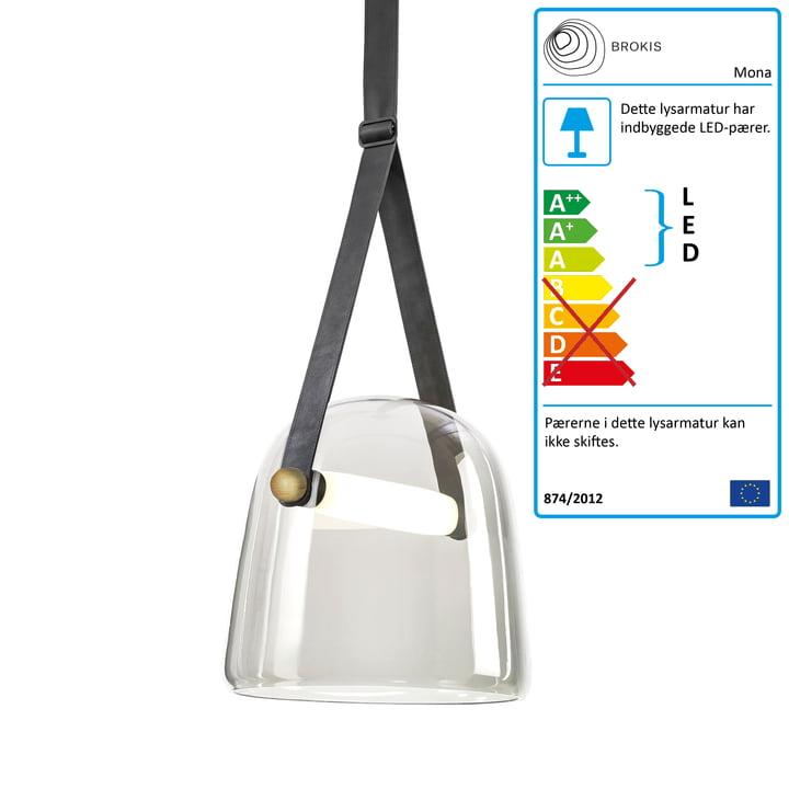 Mona LED pendellampe medium fra Brokis i klart glas / eg voks / sort / læder sort