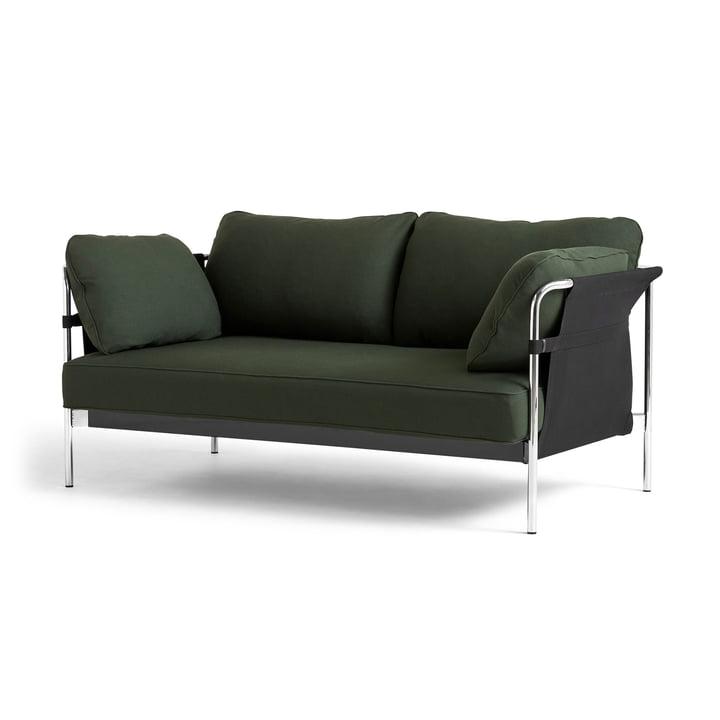 Can 2. 0 sofa 2-personers af Hay i krom / lærred sort / Steelcut 975 mørkegrøn