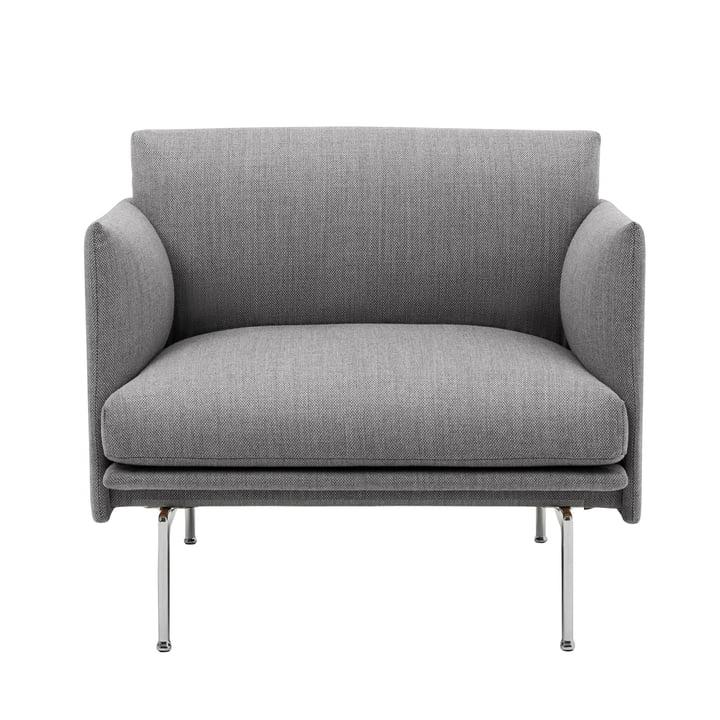 Outline Studio lænestol af Muuto i grå (fiord 151) / poleret aluminium