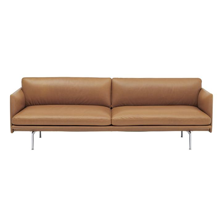 Outline sofa 3-personers med Muuto i cognac Refine læder / poleret aluminium