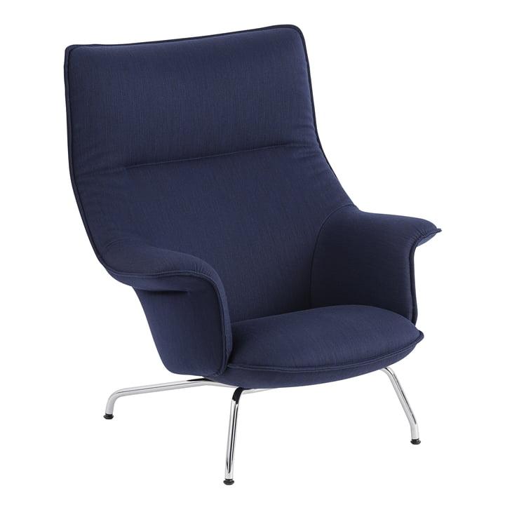 Doze Lounge stol af Muuto med bundkrom / omslag mørkeblå (Balder 782)