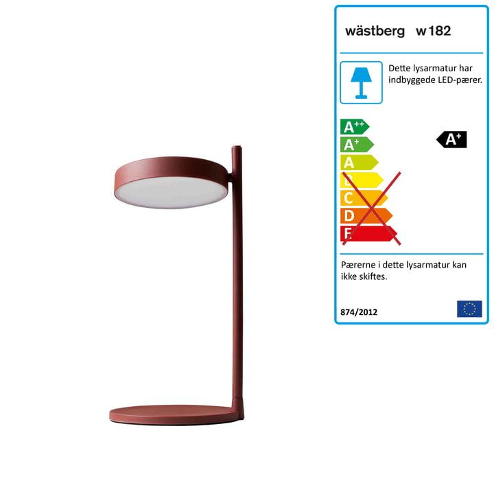 w182 Pastille LED Bordlampe b2 af Wästberg i oxideret rød