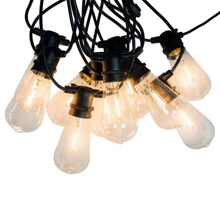 Connox Collection - LED fe-lys indendørs / udendørs (IP 44), 10 lamper oval, sort kabel