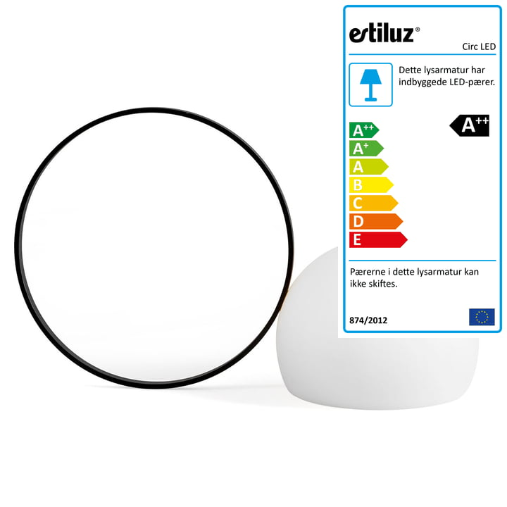 Circ LED batteridrevet bordlampe M-3727 af Estiluz i sort