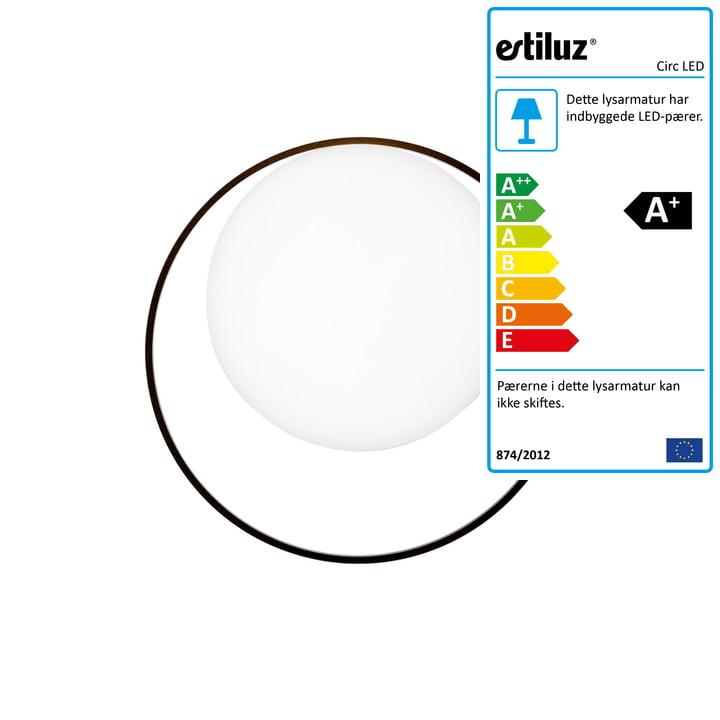 Cirkel LED væglampe fra Estiluz i sort