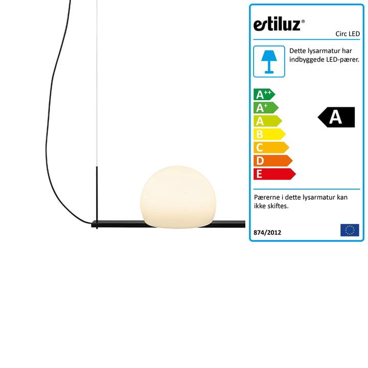 Circ LED-pendellamp 40 cm fra Estiluz i sort