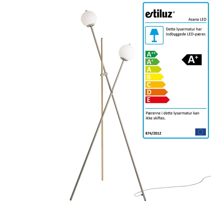 Asana LED-gulvlampe fra Estiluz i mink / satingold