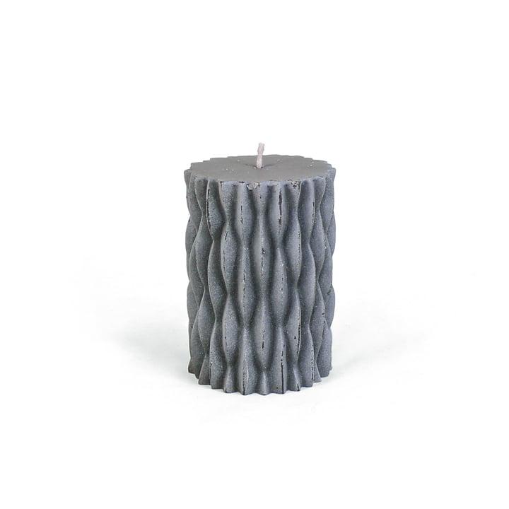 Connox Collection - rustikt bloklys med udsmykning, H 9 cm / mørkegrå