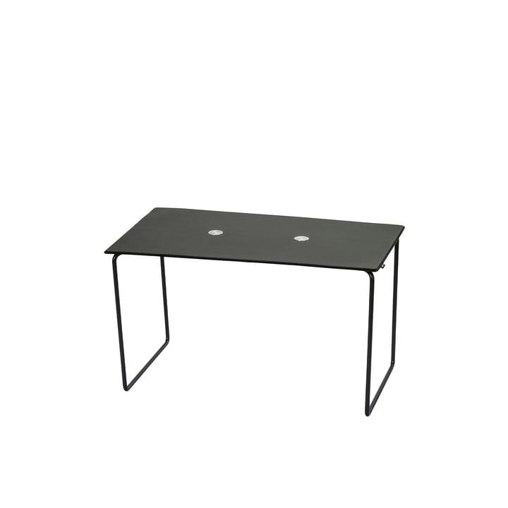 Jewel Bank lille L 72 cm fra LindDNA i stål sort / tyre sort / uld antracit / Jewel Alu