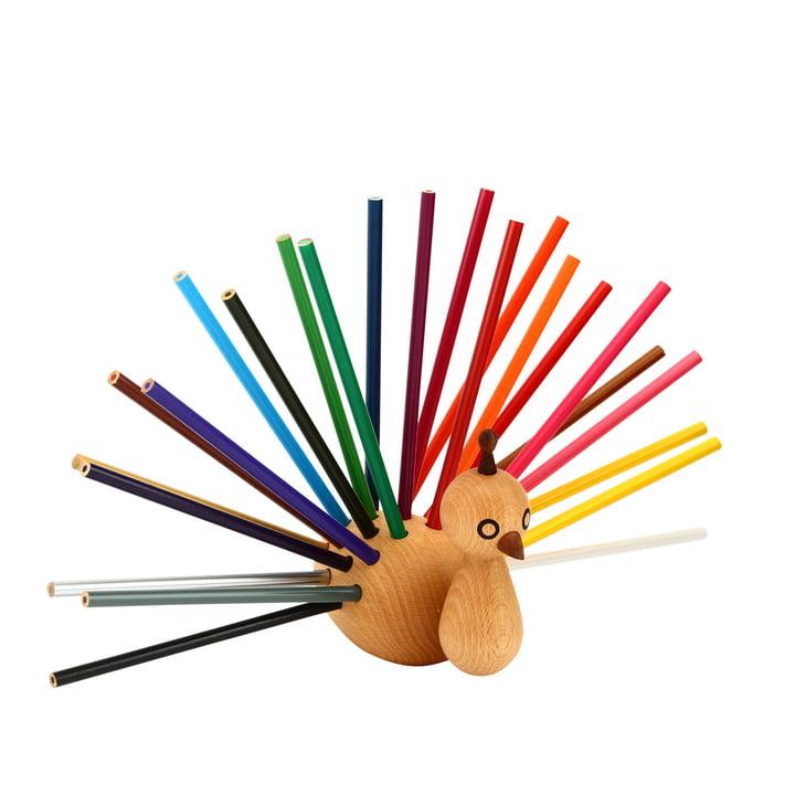 Påfugl blyantholder inkl. Farvede blyanter fra EO Denmark