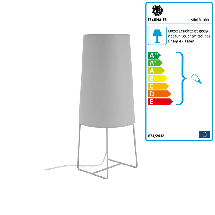 Mini Sophie bordlampe med LED-lysdæmper fra frauMaier i lysegrå