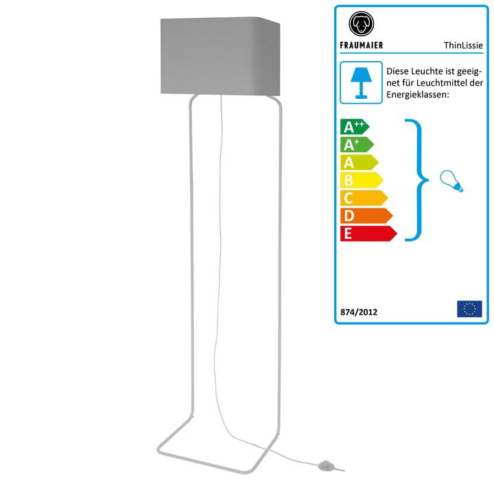 ThinLissie gulvlampe med LED-lysdæmper fra frauMaier i lysegrå (RAL 7047)