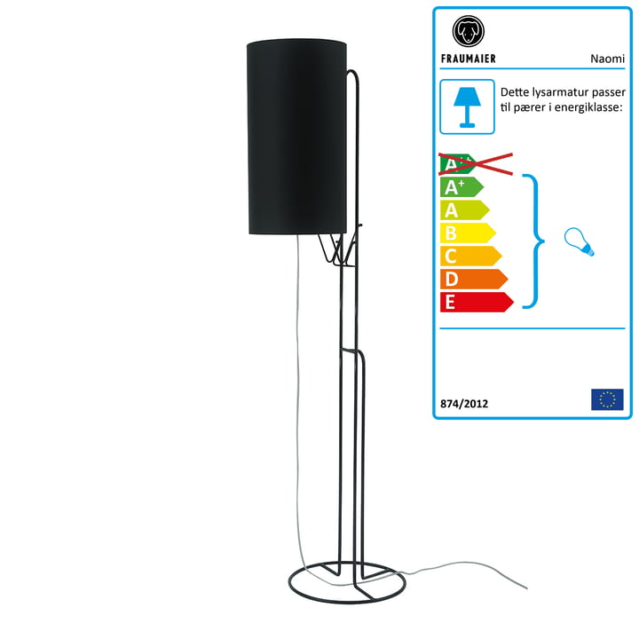 Naomi gulvlampe LED-lysdæmper fra frauMaier i sort (RAL 9005)