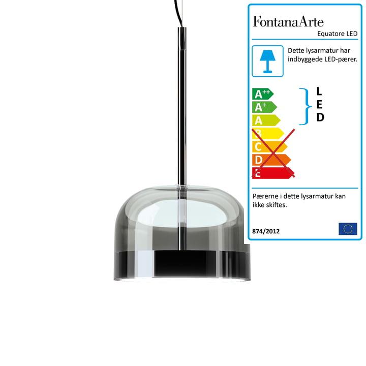 Equatore LED pendellys Ø 23,8 cm fra FontanaArte i krom / sort