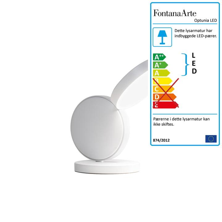 Optunia LED bordlampe H 24 cm fra FontanaArte i hvid