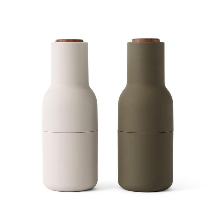 Bottle salt- og peberkværn indstillet af Menu i jagtgrøn / beige (trælåg)