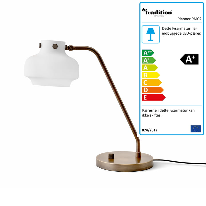 Københavns bordlampe SC15 af & tradition i opalglas / brunet messing