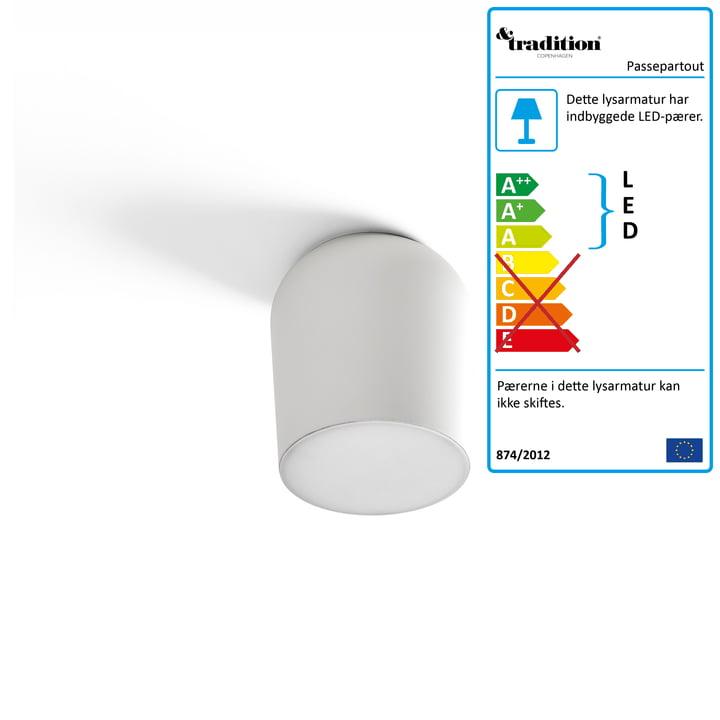 Passepartout væg- og loftslampe JH10 Ø 15,5 x H 17 cm efter & tradition i hvidt