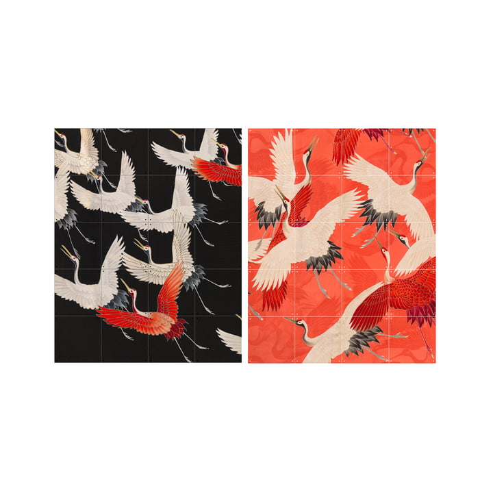 Kimono med kraner, 80 x 100 cm fra XXI