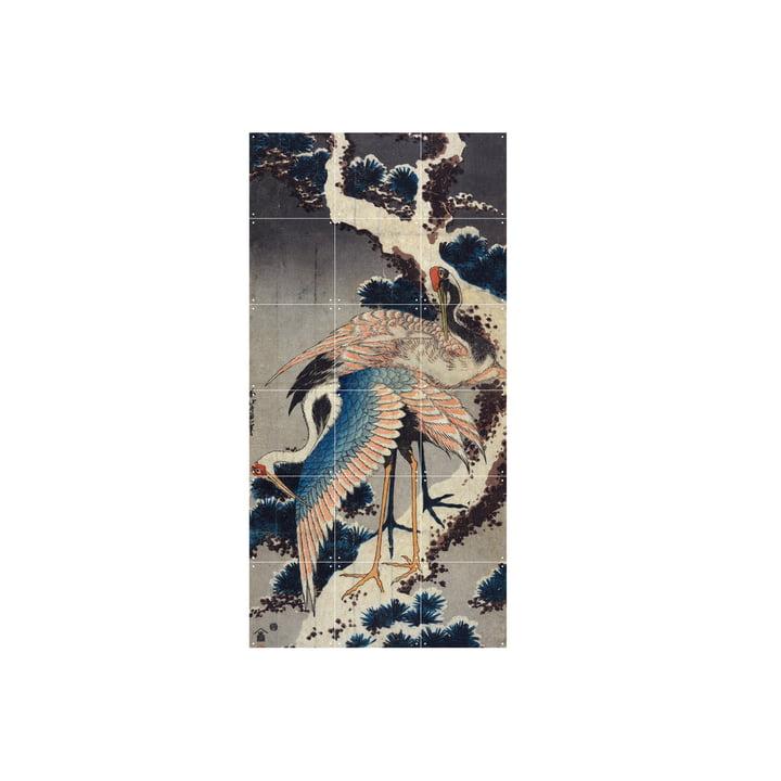 Kraner på grenen af en snedækket fyr (Hokusai) 60 x 120 cm fra IXXI