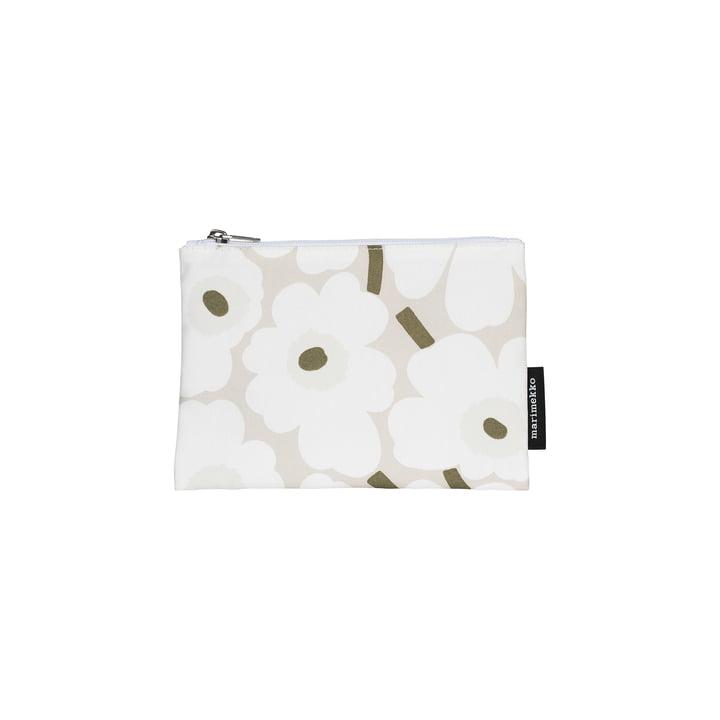 Kaika Mini Unikko kosmetisk taske, beige / hvid / grå grøn af Marimekko