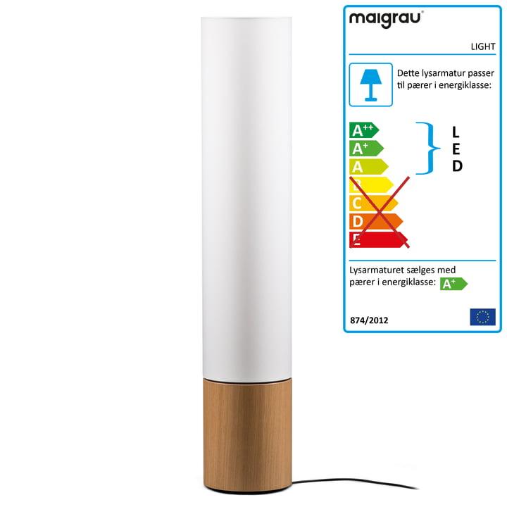 LYS 130 LED gulvlampe, naturligt eg, hvid af maj grå