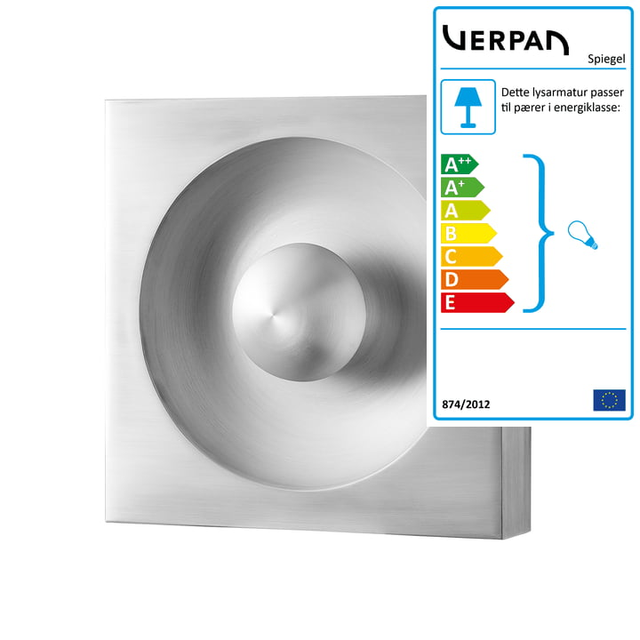 Spejlvæg og loftslampe, sølv fra Verpan