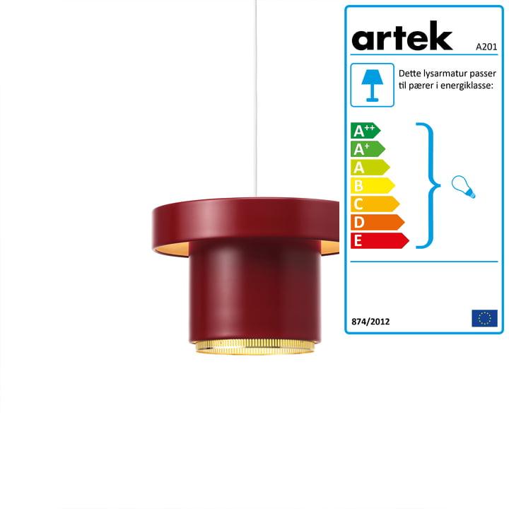 A201 pendellampe fra Artek i messing / mørkerød
