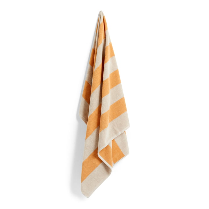 Frotté Stripe badehåndklæde, 100 x 150 cm, varm gul af Hay