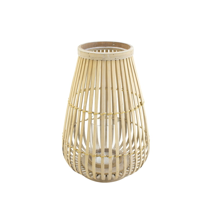 Bambus vindlys med naturligt glasindsats, 36 cm