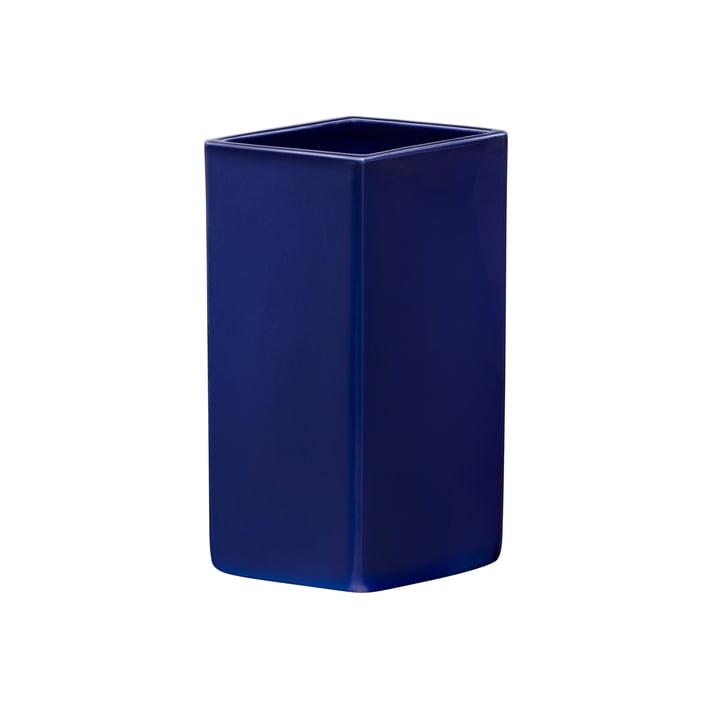 Ruutu keramisk vase 180 mm af Iittala i mørkeblå