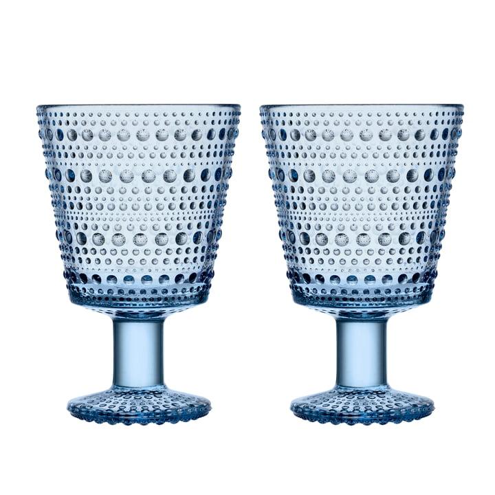 Kastehelmi drikkeglas med base 26 cl fra Iittala i aqua (sæt med 2)