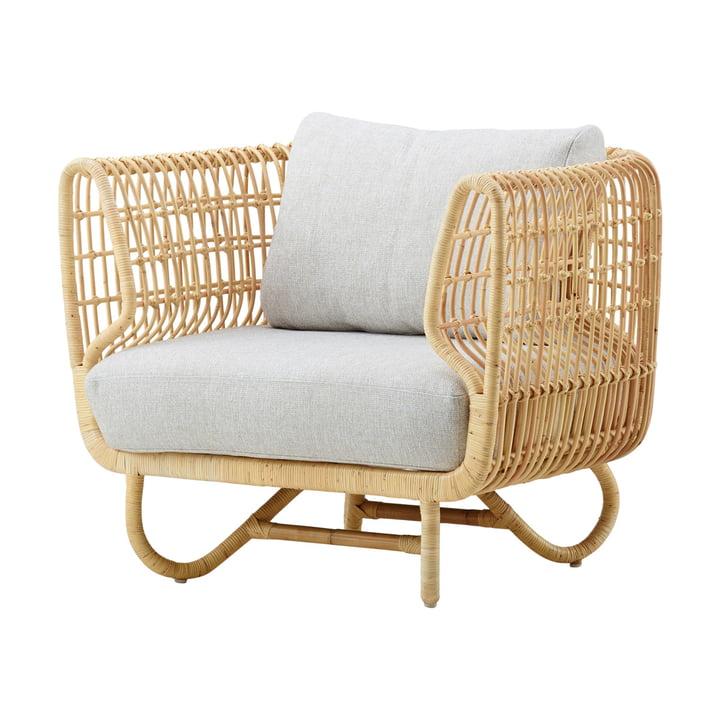 Nest lounge stol indendørs, naturlig / natté lysegrå af Cane-line