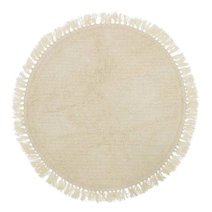 Bloomingville - naturfiberteppe med frynser Ø 110 cm, uld