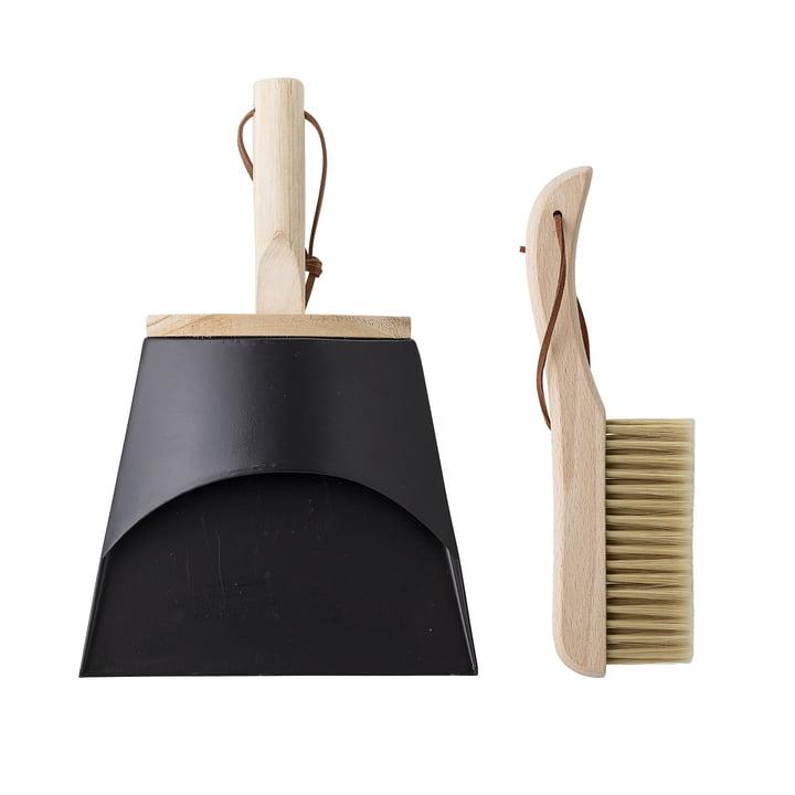Dustpan og håndbørste fra Bloomingville i bøg / sort