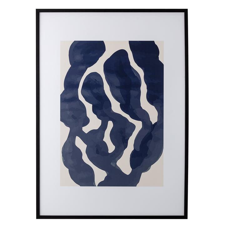 Fotoramme med abstrakt blå / lyserødt tryk, L 52 x H 72 cm af Bloomingville med sort ramme