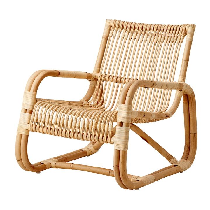 Curve lænestol indendørs, naturlig af Cane-line
