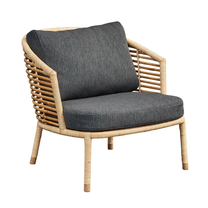 Sense loungestol, naturlig / mørkegrå af Cane-line