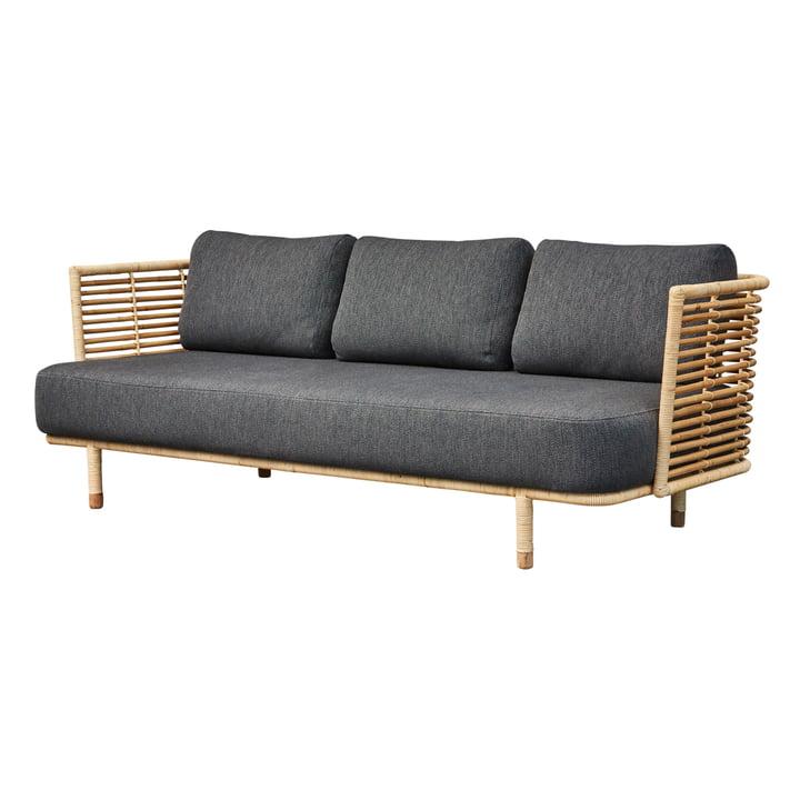 Sense 3-personers sofa, naturlig / mørkegrå fra Cane-line