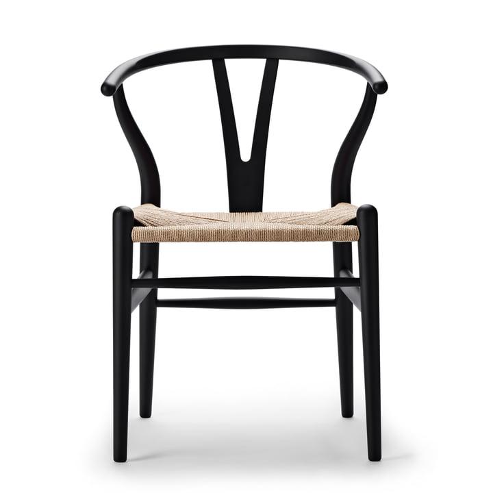 CH24 Wishbone Chair af Carl Hansen i blød sort / naturlig væv
