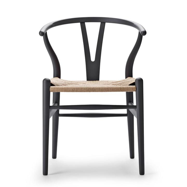 CH24 Wishbone Chair af Carl Hansen i blød grå / naturlig væv